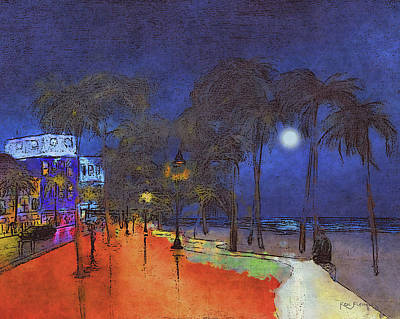 South Sea Mixed Media - Fort Lauderdale Beach At Night 2 by Ken Figurski