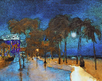 South Sea Mixed Media - Fort Lauderdale Beach At Night 3 by Ken Figurski