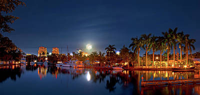 Photograph - Fort Lauderdale Super Moon Panorama by Mark Andrew Thomas