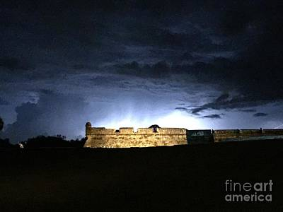 Lightening At Castillo De San Marco Art Print