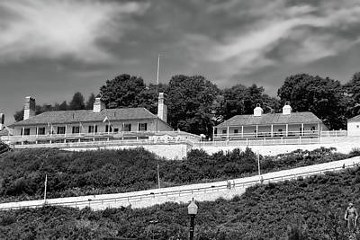 Photograph - Fort Mackinac Bw by Mary Bedy