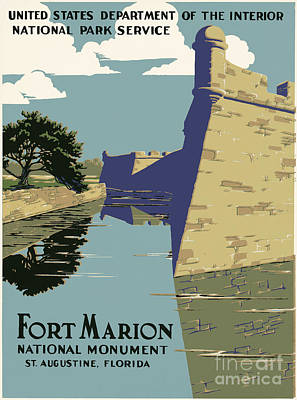 St. Augustine Florida Painting - Fort Marion National Monument by Celestial Images