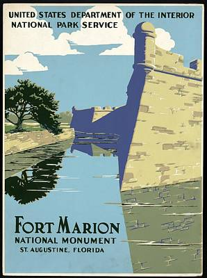 Mixed Media - Fort Marion National Monument - St.augustine, Florida - Retro Travel Poster - Vintage Poster by Studio Grafiikka