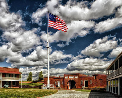 Photograph - Fort Mchenry Parade Ground And Storm Flag In Color by Bill Swartwout