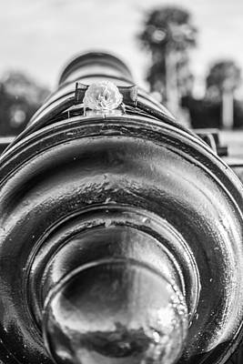 Photograph - Fort Moultrie Cannon Black And White by Donnie Whitaker