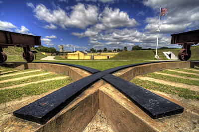 Historic Photograph - Fort Moultrie Cannon Tracks by Dustin K Ryan