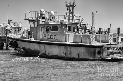Photograph - Fort Moultrie Pilot Boat Monochrome by Dale Powell