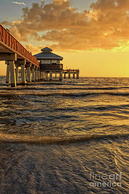 Photograph - Fort Myers Beach Fishing Pier At Sunset by Edward Fielding