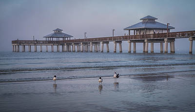 Photograph - Fort Myers Beach Fishing Pier With Sea Gulls by Ron Pate