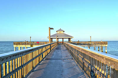 Art Print featuring the photograph Fort Myers Beach Florida Fishing Pier by Timothy Lowry