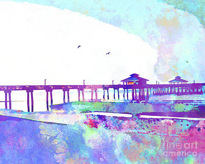 Island .oasis Mixed Media - Fort Myers Beach Pier by Chris Andruskiewicz