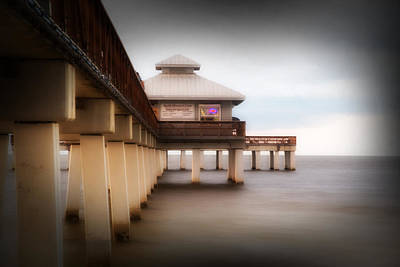 Fort Myers Beach Pier Art Print by J Darrell Hutto