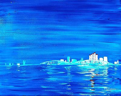 Florida Bridge Drawing - Fort Myers By Night by Vic Delnore
