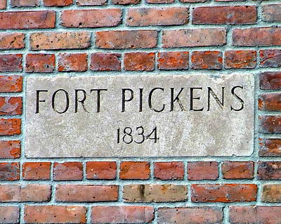 Photograph - Fort Pickens Sign by Anthony Dezenzio