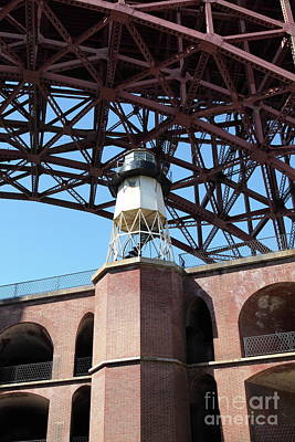 Photograph - Fort Point Light House And The Golden Gate Bridge 5d21481 by San Francisco Art and Photography