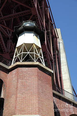 Photograph - Fort Point Light House And The Golden Gate Bridge 5d21514 by San Francisco Art and Photography