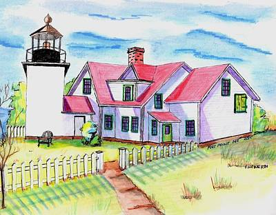 Fort Point Lighthouse Maine Art Print