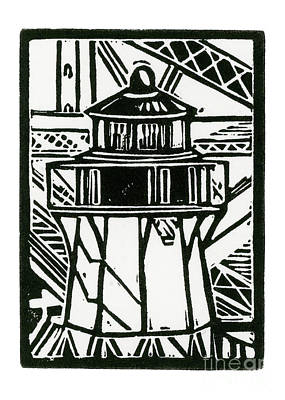 Lino Mixed Media - Fort Point Lighthouse by Tom Taneyhill