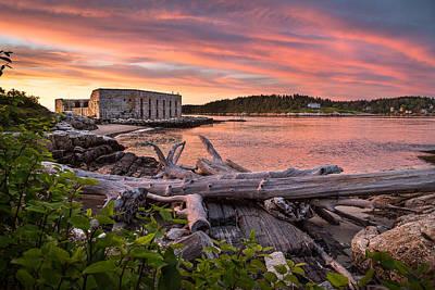 Popham Beach Photograph - Fort Popham Sunset by Benjamin Williamson
