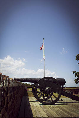 Fort Pulaski Cannon And Flag Print by Chrystal Mimbs