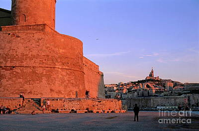 Fort Saint-jean With A View Of The Cityscape Of Marseille Art Print by Sami Sarkis