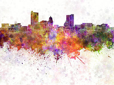 Grunge Painting - Fort Wayne Skyline In Watercolor Background by Pablo Romero