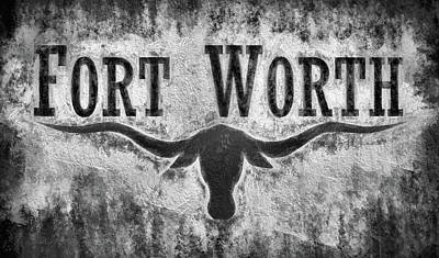 Texas Longhorn Digital Art - Fort Worth City Flag Black And White by JC Findley