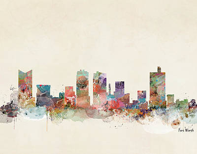 Painting - Fort Worth City Skyline by Bleu Bri