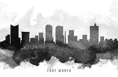 Towns Digital Art - Fort Worth Cityscape 11 by Aged Pixel