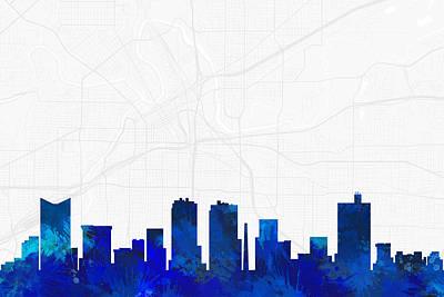 Splatter Digital Art - Fort Worth Cityscape And Streetmap Blue Skyline by Jurq Studio