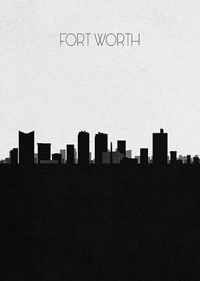Drawing - Fort Worth Cityscape Art by Inspirowl Design