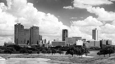 Photograph - Fort Worth Cotton Clouds Bw by Rospotte Photography
