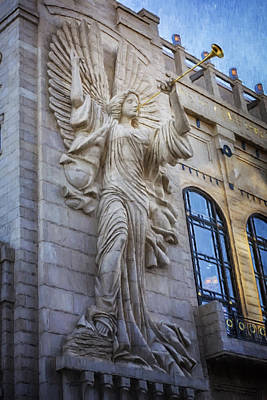 Stone Buildings Photograph - Fort Worth Impressions Bass Hall Angel by Joan Carroll