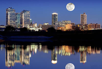 Photograph - Fort Worth Moon 121417 by Rospotte Photography