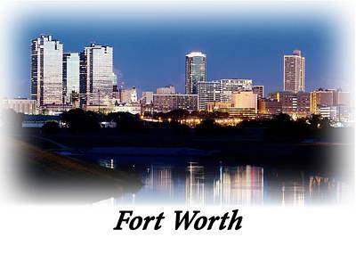 Photograph - Fort Worth Night Skyline T-shirt by Rospotte Photography