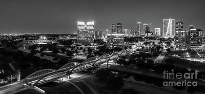 Cityscape Photograph - Fort Worth Skyline Bw Pano2 by Tod and Cynthia Grubbs