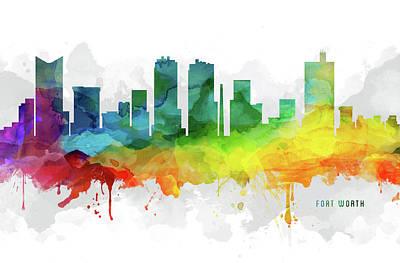 Fort Worth Skyline Mmr-ustxfw05 Art Print by Aged Pixel