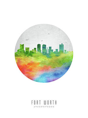 Fort Worth Skyline Ustxfw20 Art Print by Aged Pixel
