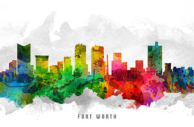 Worth Painting - Fort Worth Texas Cityscape 12 by Aged Pixel