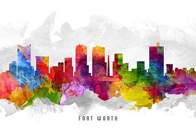 Fort Worth Texas Cityscape 13 Art Print by Aged Pixel