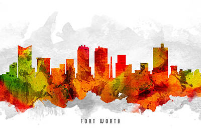 Worth Painting - Fort Worth Texas Cityscape 15 by Aged Pixel
