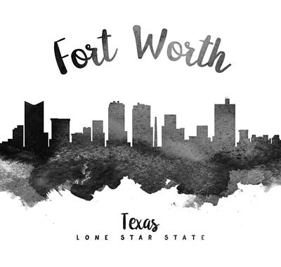 University Wall Art - Painting - Fort Worth Texas Skyline 18 by Aged Pixel