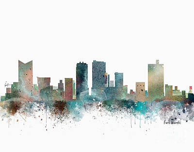Painting - Fort Worth Texas Skyline by Bleu Bri