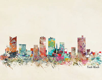 Painting - Fort Worth Texas Skyline by Bri B