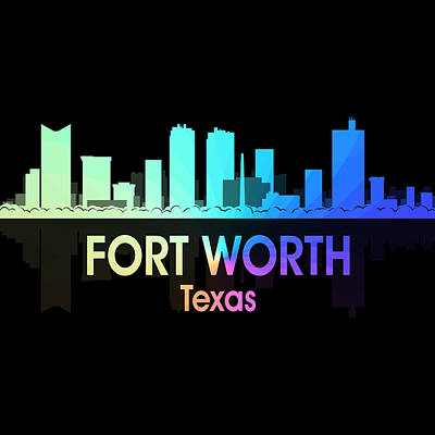 Fort Worth Tx 5 Squared Art Print