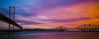 Photograph - Forth Road And Railway Bridges, Queensferry, Fife, West Lothian, by Neil Alexander
