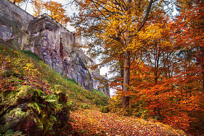 Autumn Photograph - Fortification Koenigstein In Autumn Time by Jenny Rainbow
