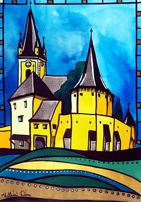 Painting - Fortified Medieval Church In Transylvania By Dora Hathazi Mendes by Dora Hathazi Mendes