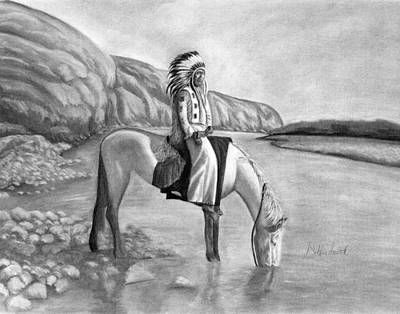 Blackfoot River Drawing - Fortitude by Debbie Smith