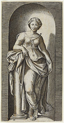 Drawing - Fortitude by Marcantonio Raimondi